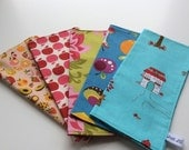 5 for 25 - Special Price - Reusable Eco-Friendly - Reversible 2 Ply - Cotton Cloth - Lunchbox Napkins - Kids Children- Cocktail Napkins