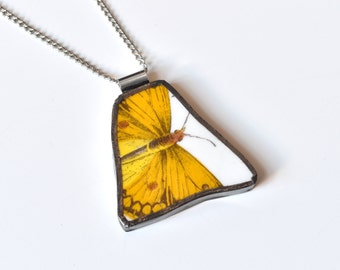 Broken China Jewelry Pendant - Portmeirion China - Yellow Butterfly