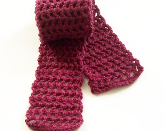Burgundy Crochet Scarf, Long Crochet Scarf, Warm Scarf, Winter Scarf, Adult Scarf, Handmade Scarf, Hand Crocheted Scarf