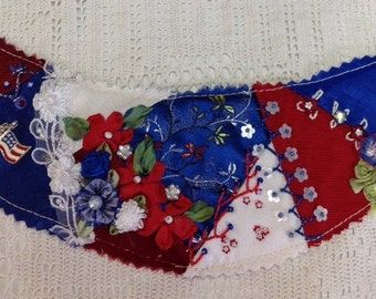 Crazy Quilted Sun Visor Red White and Blue