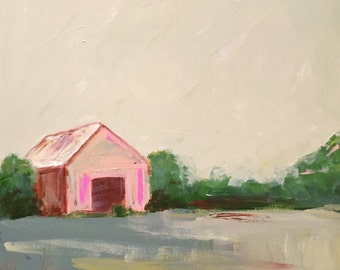 landscape painting square landscape  barn landscape wall art pink and green farmhouse rustic art