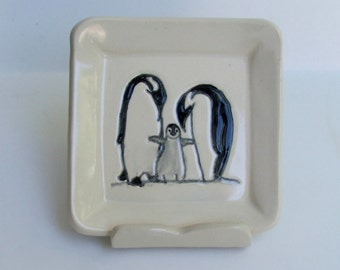 Square Ceramic Plate / Coaster, Hand Built and Hand Painted Penguin Family