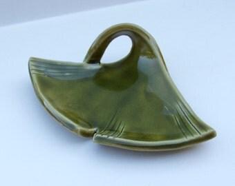 Hand built ceramic ginkgo Plate