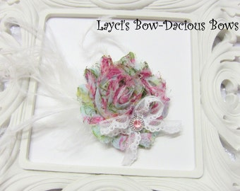 Floral Print {Ellie} Flower Hair Clip, flower clip, shabby flower, floral print flower, more colors available