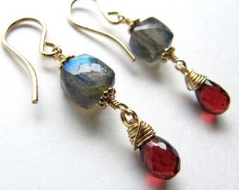 Labradorite Garnet Drop Earrings