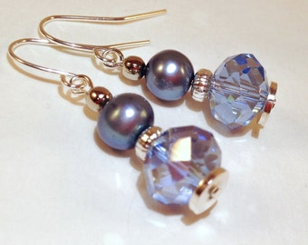Blue pearl and AB Czech crystal silver earrings