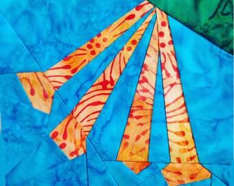Trumpet Flower Paper Pieced Quilt Block Pattern