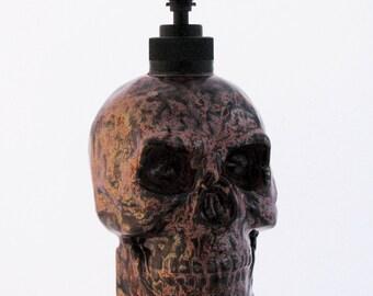 Copper Skull Ceramic Soap Dispenser, Copper and Black Finish for Bath Vanity or Kitchen Counter, Halloween Accent