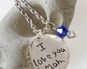 Child Handwriting Tag Necklace, Personalized Celebrity Mommy Necklace, I love you mom, transfer signature, romanza jewelry