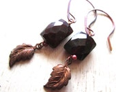 Leaf Faceted Garnet Earrings - Copper - Etsy Jewelry - catROCKS - Grace and Frankie - Gemstone - Dangle - Red Purple - Small - Leaves Fall