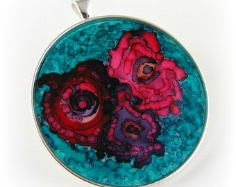 Alcohol Inks on Glass Wearable Art Pendant