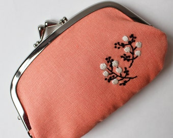 Coin purse wallet - embroidered flowers on peach apricot linen, black white flowers hand-embroidery kiss lock coin purse double compartment