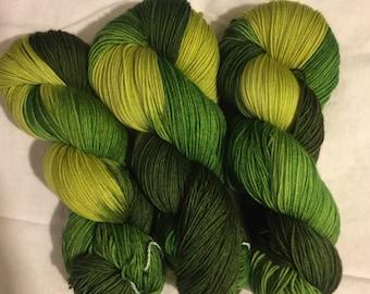 Hand dyed superwash sock yarn EAT YOUR GREENS