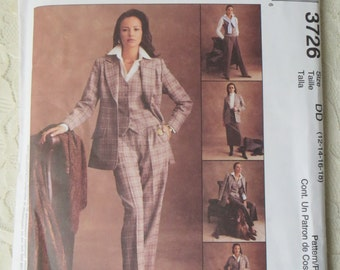 McCalls 3726 Sewing Pattern Suit with Peaked Lapel Jacket, Vest, Skirt & Pants, 4 Piece Tailored Suit, Women's Size DD 12-14-16-18, OOP