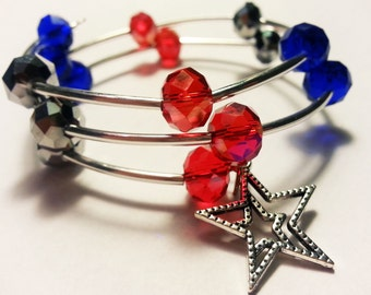 Memory wire coil bracelet, Red Silver and Blue with Star charm