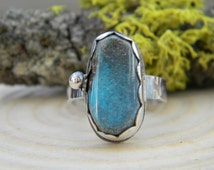 Natural Bisbee Turquoise Ring - sterling silver - Size 7