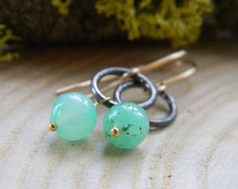 Blackened silver rings with chrysoprase rounds - dangle earrings - gold filled earwires