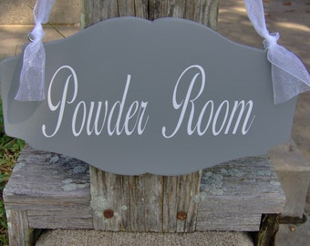 Bathroom Sign Powder Room Sign Wood Vinyl Scallop Design Restroom Man Women  Unisex Home Door Decor