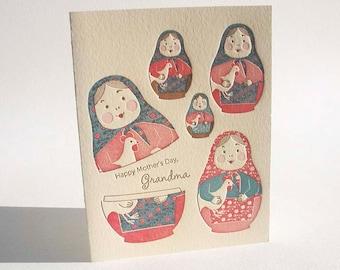 "A2 Nesting Dolls "" Happy Mother's Day, Grandma "" letterpress card"