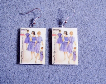 Retro Kitsch Sewing Pattern 1960s Mad Men Dress Jacket Dangle Polymer Clay Earrings 3862
