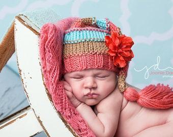 Cherish - Bumpy Tassel Cap newborn soft red coral mint tan striped flower clip girl photography prop hat