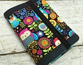 NWT Linen and Cotton Bible cover, Bright Owls and flowers, standard sized. Turquoise and silver metallic polka dot on reverse.