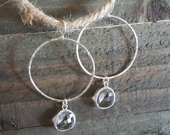 Sterling Silver and Glass Hoop Earrings, Silver Hammered Hoop Earrings