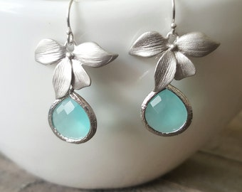 Mint Glass and Silver Orchid Earrings, Bridal Jewelry