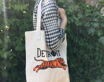 Leaping Detroit Tiger Tote Bag