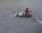 NEW Yoga Dangle Earrings Silver Feather Buddha Jewellry Turquoise Coral Bohemian Earrings