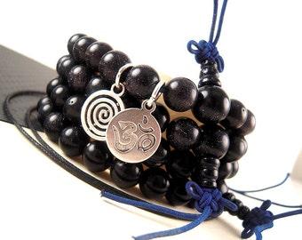 Blue Goldstone Mala Beads, 8mm, Wrist Mala Beads Bracelet Kit, Silver Charm Option, Worry Beads, Yoga Bracelet Beads WD18