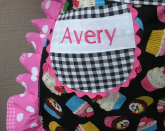 Aprons - Personalized Aprons - Does Not Include The Apron -  - Monogrammed -  Her Name On any Apron Pocket - Embroidered Initial