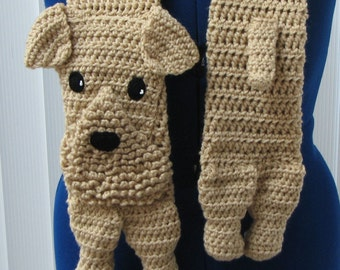 Crochet Pattern - Airedale Dog Scarf Pattern - Airedale Terrier - Men's Scarf - Women's Scarves - Dog Lover Gift - Animal Pattern