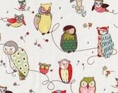 OWLS Alexander Henry Off White Cotton Fat Quarter FQ Fabric Piece 100% cotton