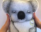 Wombat Stuffie, Medium Size. Australian Animal Softie, Plush Soft Toy. Illustration by flossy-p. Dark grey back.