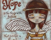 Original Folk Art Mixed Media Angel Painting - Angel of Hope - Free U. S. shipping