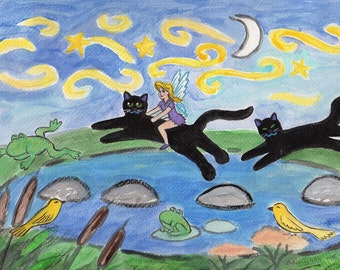 ORIGINAL PAINTING, Pixie and Black Cats in the Toady Frog Pond with Yellow Warblers, by DM Laughlin