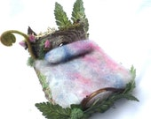 Forest Whimsy knothole headboard fairy bed with fern fron and misty hues