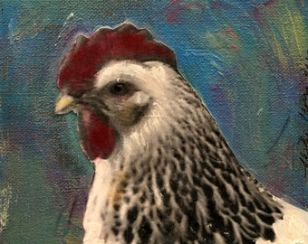 chunky chicken painting original mixed media  on canvas