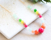 Red Gemstone Necklace, Beaded Gemstone Necklace, Bead Necklace, Colorful Bead Necklace, Colorful Necklace, Red Necklace, Colorful Jewelry