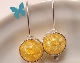 Canary Yellow Crackle Quartz drop earrings Sterling Silver