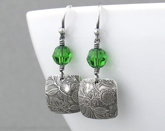 Everyday Earrings Green Crystal Earrings Fern Green Earrings Square Silver Earrings Handmade Jewelry Gift for Her  - Tracey