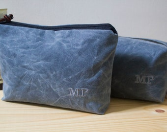 Personalized Men's Dopp Kit and Zipper Pouch Set, Toiletry Bag, Gift for Men, Matching Travel Bags for Couples - Waxed Canvas - Gray