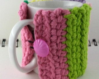 Crocheted Coffee or Ice Cream Cozy, Easter Egg Stripes (SWG-Z13)
