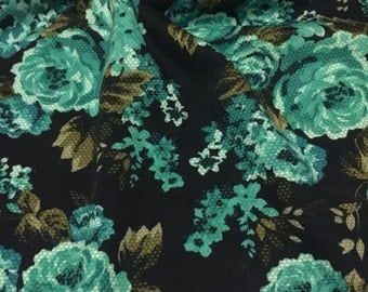 Floral  Double  Knit Ponte Roma  Floral Print 2 Yards