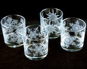 Snowflake Mandala Lowball Tumbler Glasses - Etched Glassware - 4 Glass Set - Ready to Ship