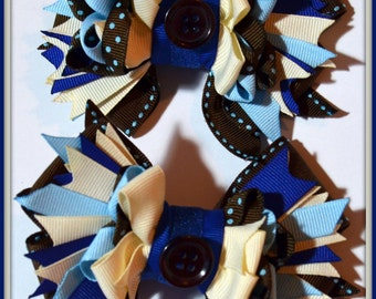 Stunning Pair of MEDIUM Stacked Hair Bows in Chocolate Brown, Baby Blue, & Ivory with Alligator Clips for Pigtails