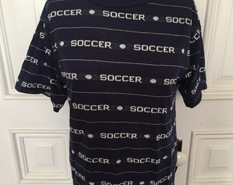 Vintage 80s soccer football knit t shirt