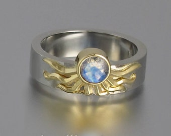 Sun ring in 18k &14k gold with Moonstone
