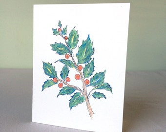 Cards - Holly Sprig, set of 4